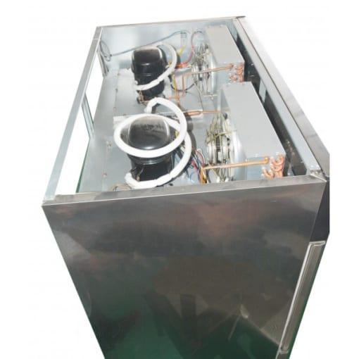 Mặt trên của tủ đông inox công nghiệp 4 cánh 2 ngăn